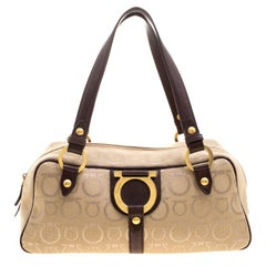 Salvatore Ferragamo Beige Canvas Signature Satchel