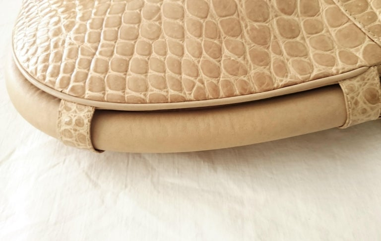 Salvatore Ferragamo Beige Crocodile Shoulder Bag.  For Sale 6