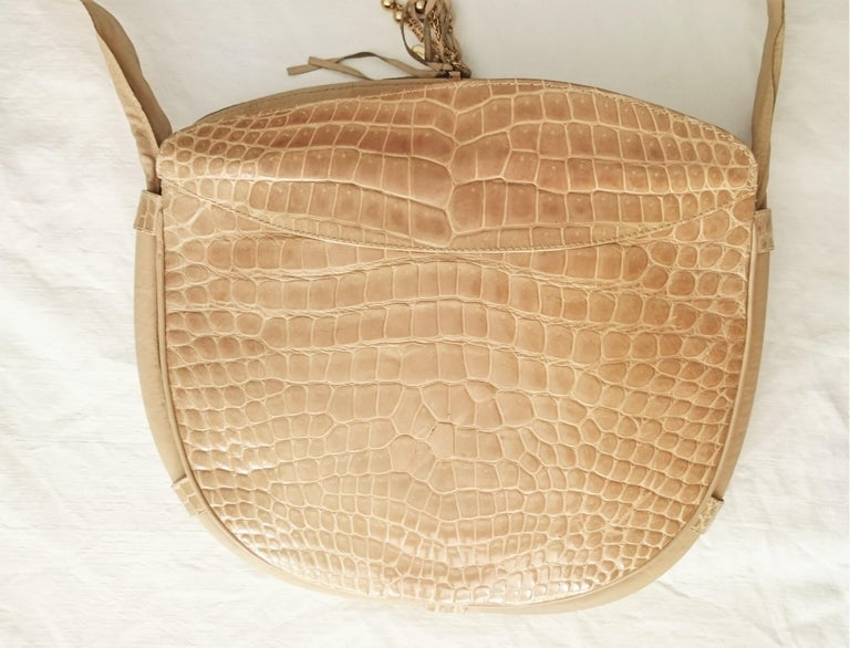 Salvatore Ferragamo Beige Crocodile Shoulder Bag.  For Sale 7