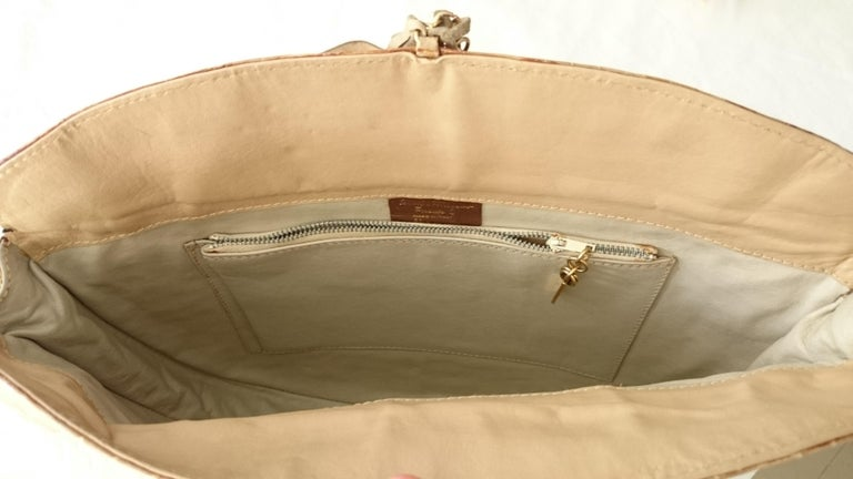 Salvatore Ferragamo Beige Crocodile Shoulder Bag.  For Sale 8