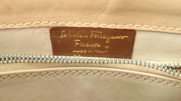 Salvatore Ferragamo Beige Crocodile Shoulder Bag.  For Sale 9
