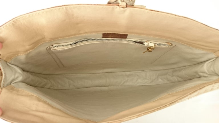 Salvatore Ferragamo Beige Crocodile Shoulder Bag.  For Sale 11