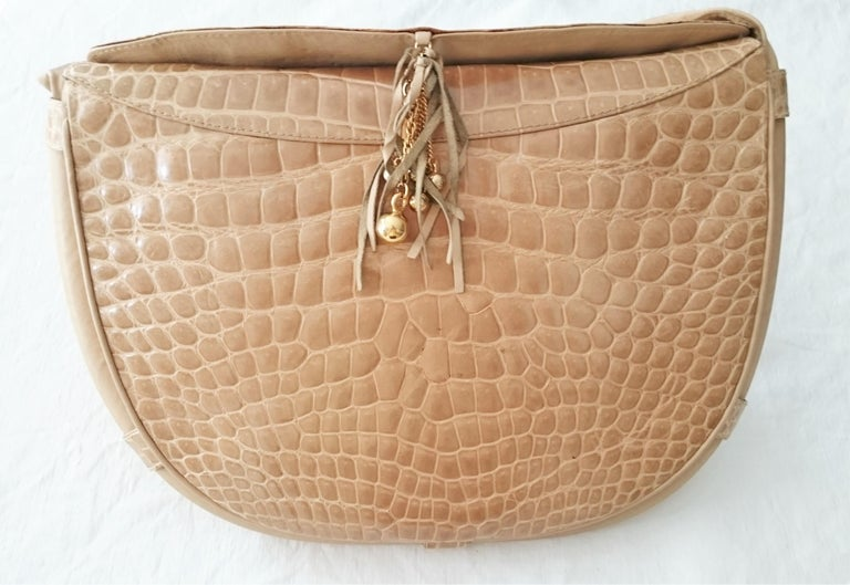 Salvatore Ferragamo Beige Crocodile Shoulder Bag.  For Sale 12