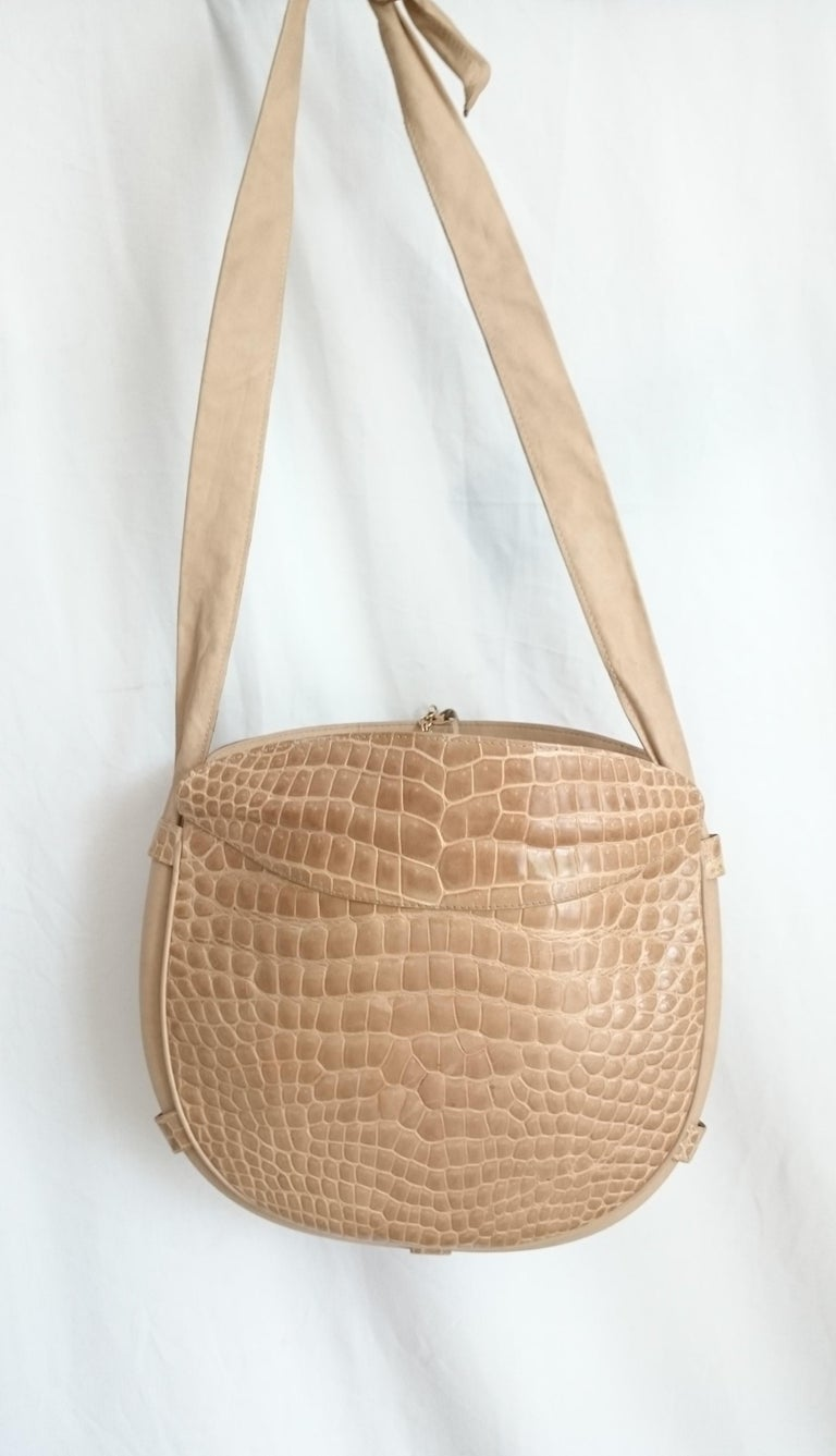 Women's Salvatore Ferragamo Beige Crocodile Shoulder Bag.  For Sale