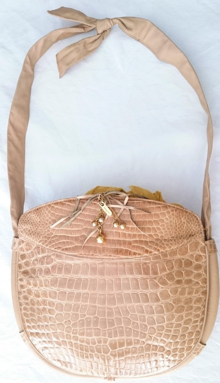 Salvatore Ferragamo Beige Crocodile Shoulder Bag.  For Sale 2
