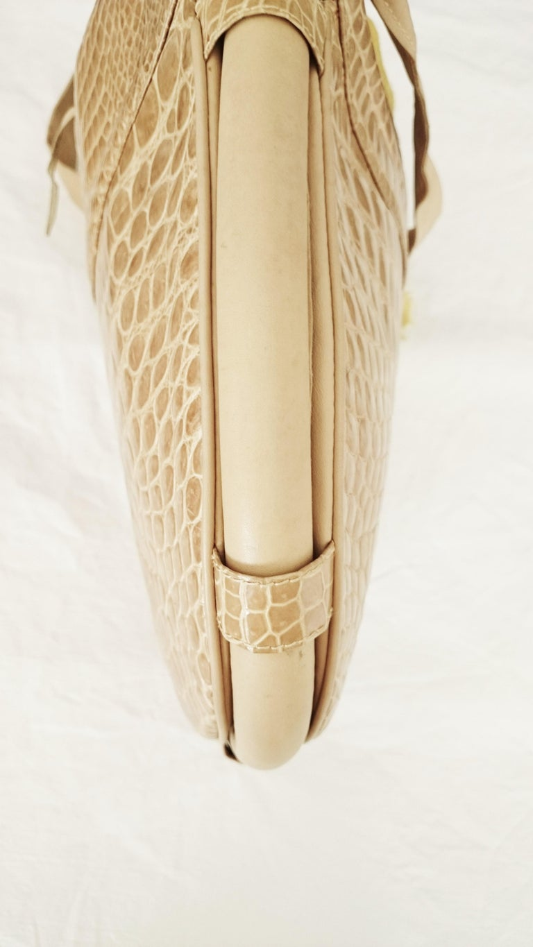 Salvatore Ferragamo Beige Crocodile Shoulder Bag.  For Sale 4