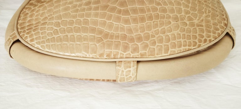 Salvatore Ferragamo Beige Crocodile Shoulder Bag.  For Sale 5