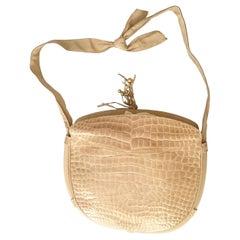 Salvatore Ferragamo Beige Crocodile Shoulder Bag.