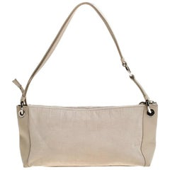 Salvatore Ferragamo Beige Fabric and Leather Shoulder Bag