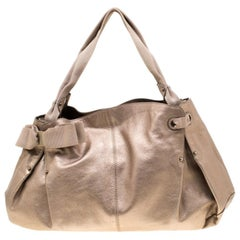 Salvatore Ferragamo Beige Leather and Canvas Bow Hobo