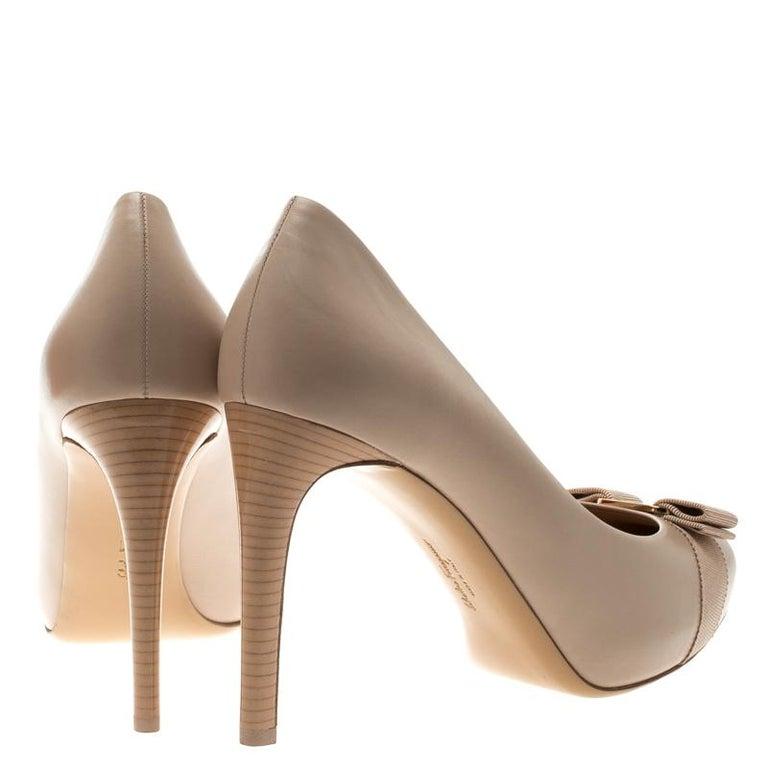 30d44e828ff Salvatore Ferragamo Beige Leather Pimpa Pumps Size 41.5 For Sale at ...