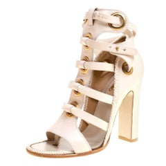 Salvatore Ferragamo Beige Leather Shyla Gladiator Sandals Size 40