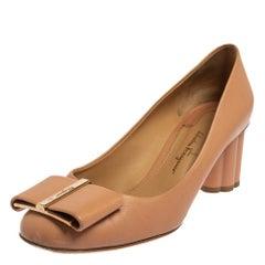 Salvatore Ferragamo Beige Leather Varina Block Heel Pumps Size 37.5