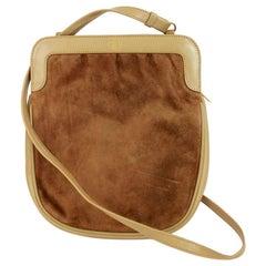 Salvatore Ferragamo Beige Soft Suede Leather Shoulder Clutch Bag