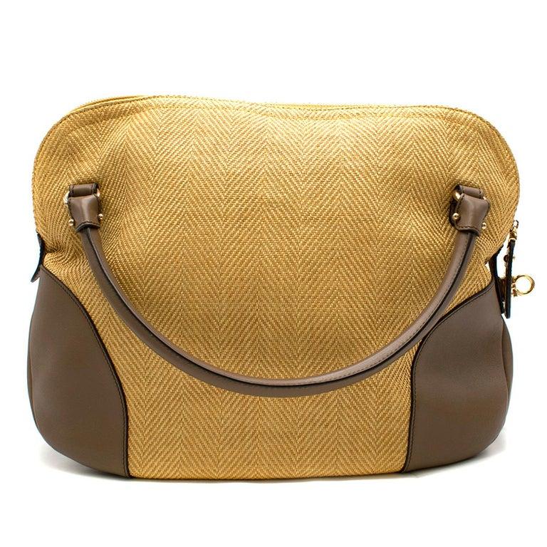 Salvatore Ferragamo Beige Woven Basket/Leather Shoulder Bag   In Excellent Condition For Sale In London, GB