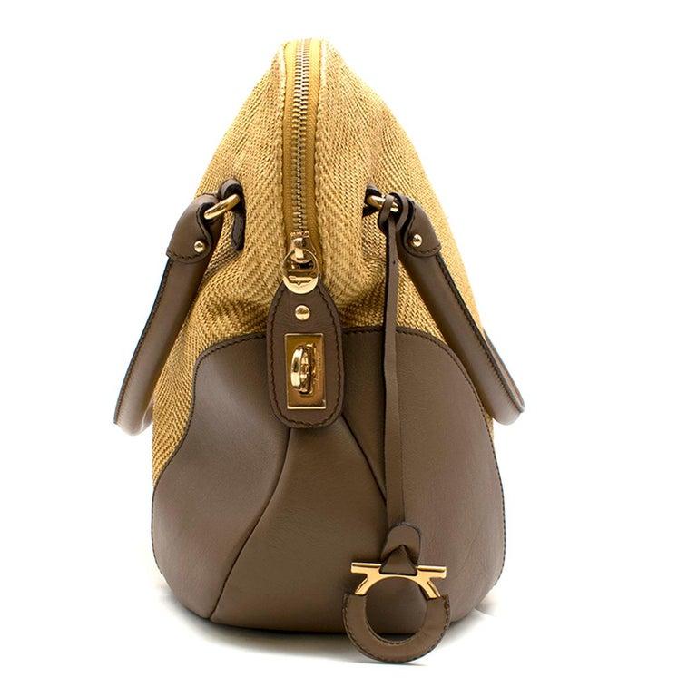 Women's Salvatore Ferragamo Beige Woven Basket/Leather Shoulder Bag   For Sale