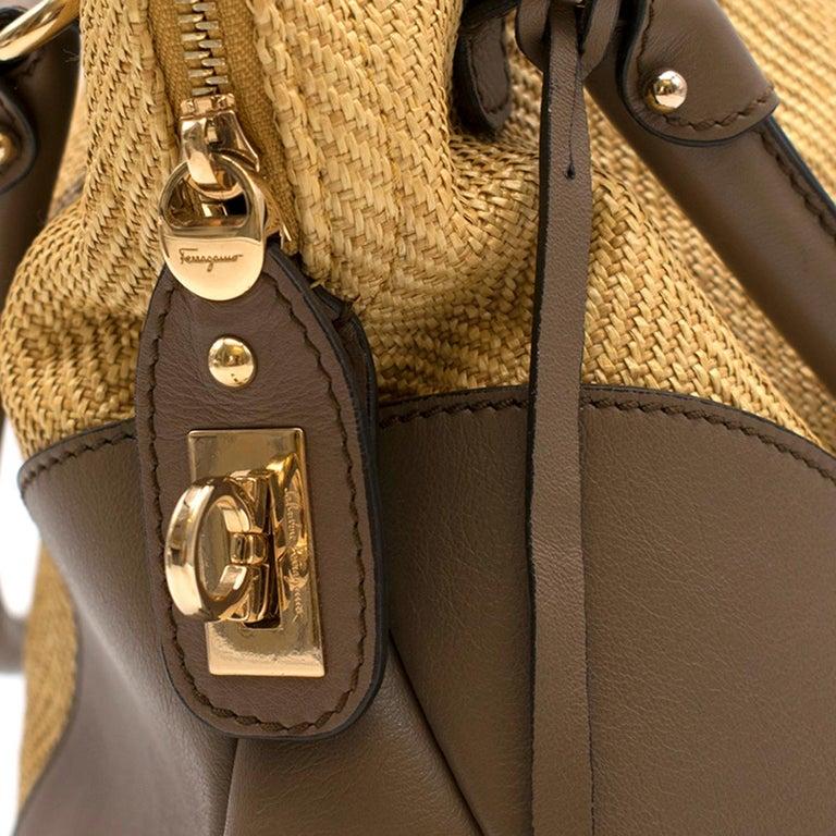Salvatore Ferragamo Beige Woven Basket/Leather Shoulder Bag   For Sale 1