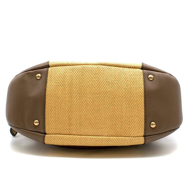 Salvatore Ferragamo Beige Woven Basket/Leather Shoulder Bag   For Sale 2