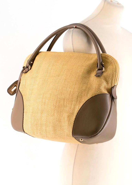 Salvatore Ferragamo Beige Woven Basket/Leather Shoulder Bag   For Sale 3