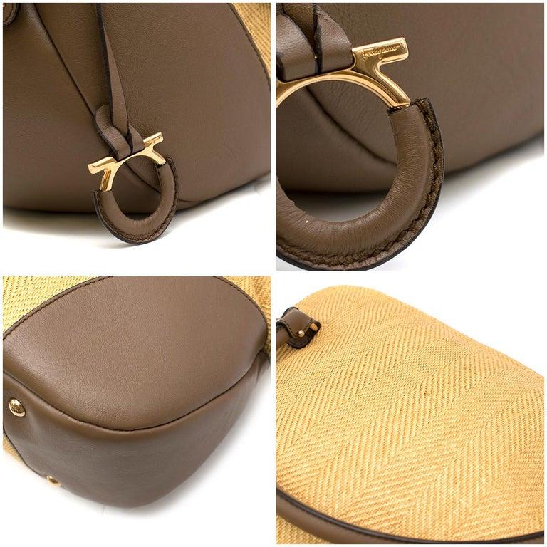 Salvatore Ferragamo Beige Woven Basket/Leather Shoulder Bag   For Sale 4