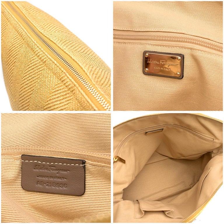 Salvatore Ferragamo Beige Woven Basket/Leather Shoulder Bag   For Sale 5