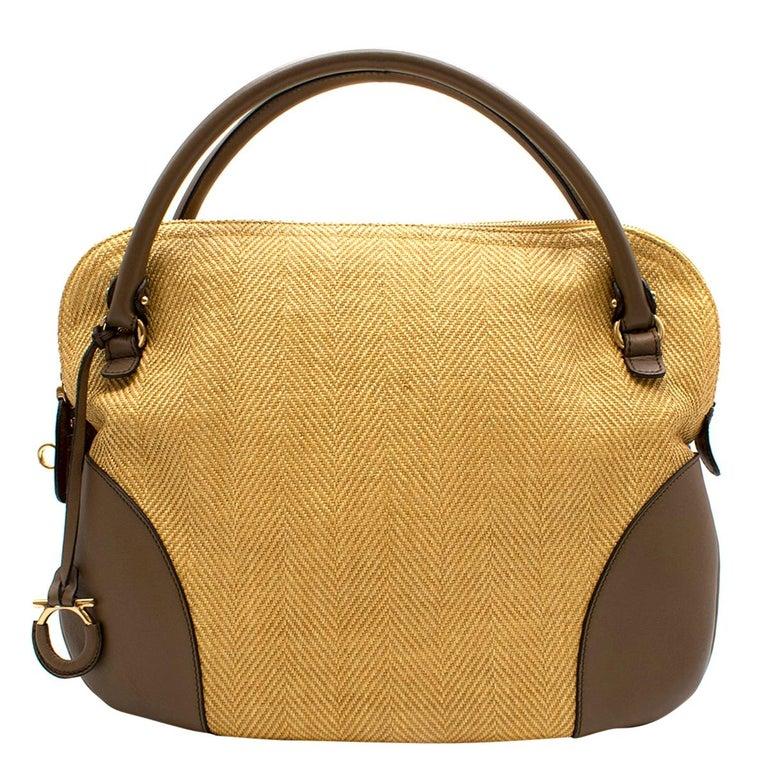 Salvatore Ferragamo Beige Woven Basket/Leather Shoulder Bag   For Sale