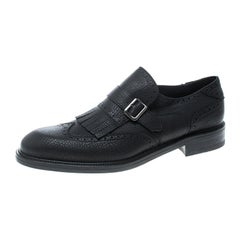 Salvatore Ferragamo Black Brogue Leather Genesis Fringe Wingtip Oxford Size 45