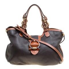 Salvatore Ferragamo Black/Brown Leather Top Handle Bag