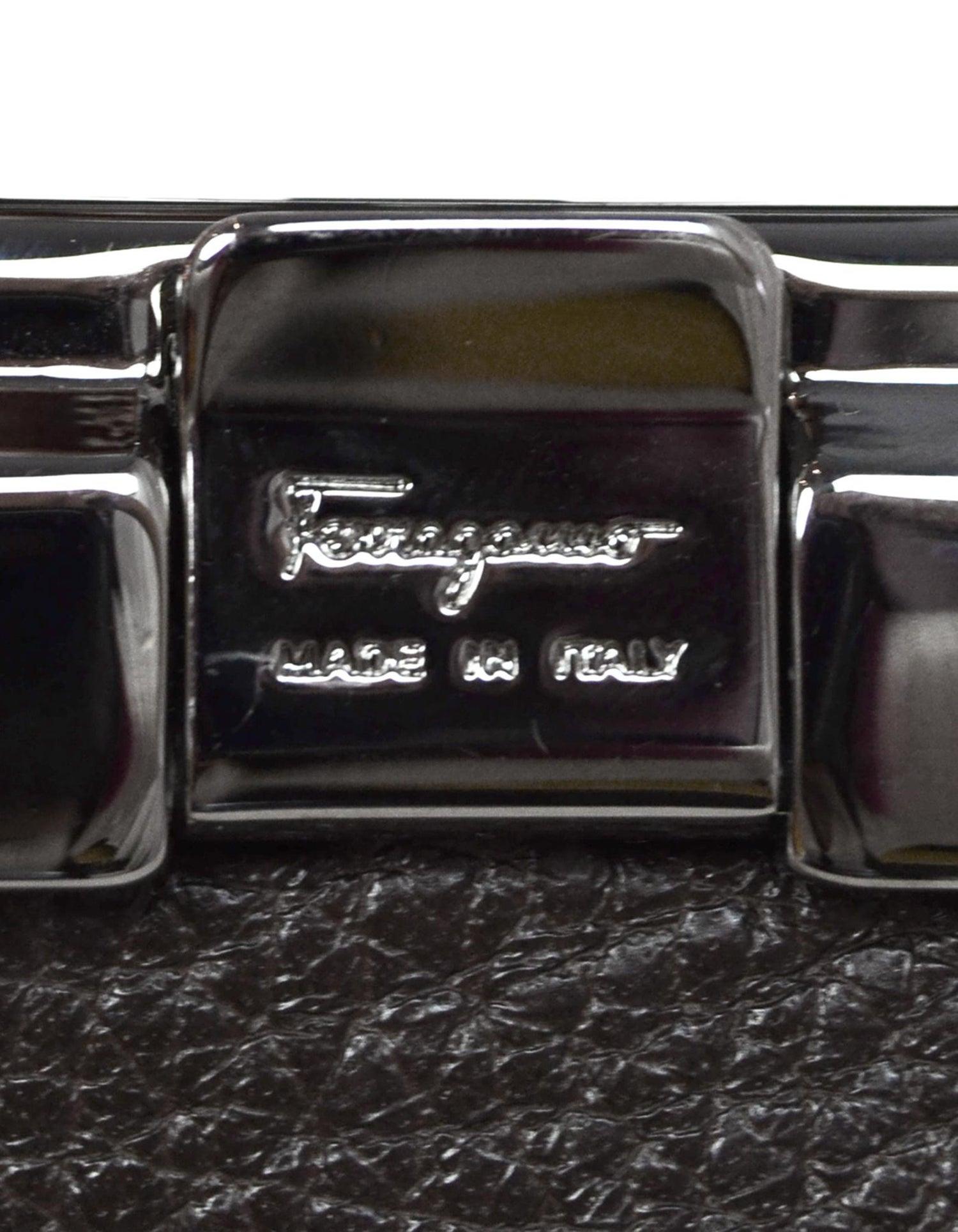 8f0fd6515e91 Salvatore Ferragamo Black Brown Reversible Leather Belt W  Gunmetal Buckle  Sz 32 For Sale at 1stdibs