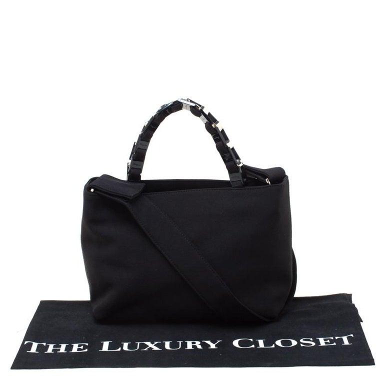 Salvatore Ferragamo Black Canvas Shoulder Bag For Sale 7