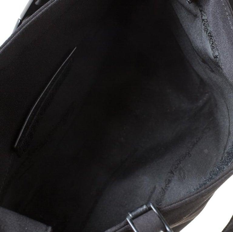 Salvatore Ferragamo Black Canvas Shoulder Bag For Sale 1