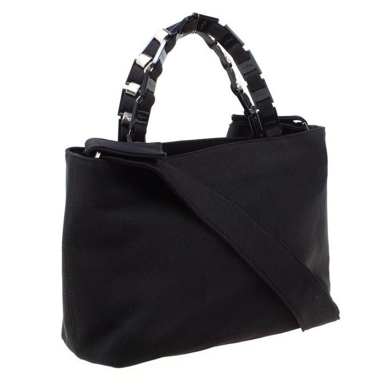 Salvatore Ferragamo Black Canvas Shoulder Bag For Sale 3