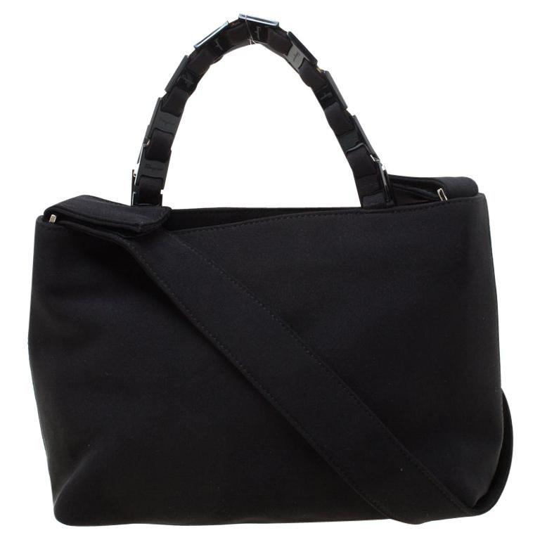 Salvatore Ferragamo Black Canvas Shoulder Bag For Sale