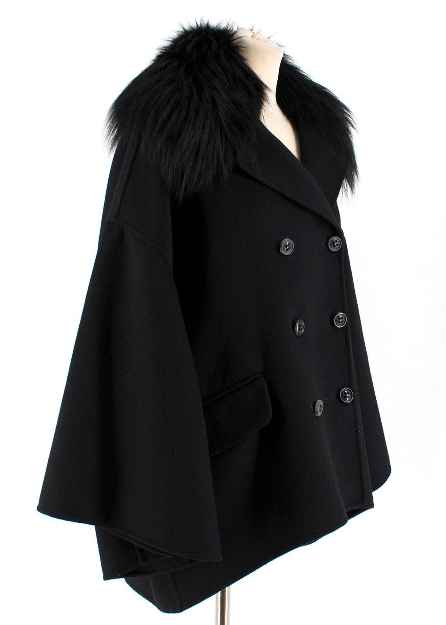 2bbe1c8f85152 Salvatore Ferragamo Black Cashmere Coat with Fox Fur Collar IT 42 For Sale  at 1stdibs