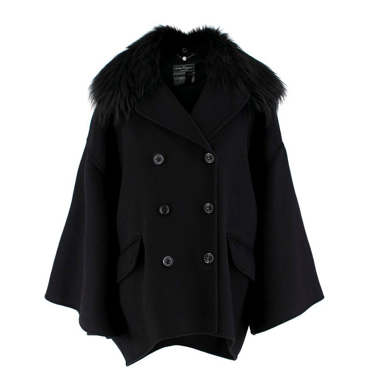 2c56bc911a6da Salvatore Ferragamo Black Cashmere Coat with Fox Fur Collar IT 42 For Sale
