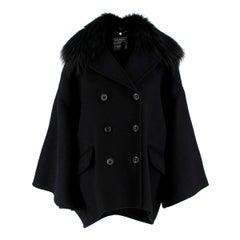 Salvatore Ferragamo Black Cashmere Coat with Fox Fur Collar IT 42