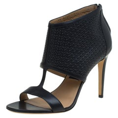 Salvatore Ferragamo Black Embossed Leather Pacella Open-Toe Sandals Size 40