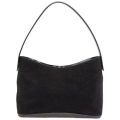 Salvatore Ferragamo Black Felt & Leather Handbag