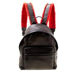 Salvatore Ferragamo Black Firenze Glow Leather Backpack