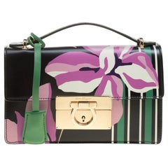 Salvatore Ferragamo Black Floral Painted Leather Aileen Top Handle Bag