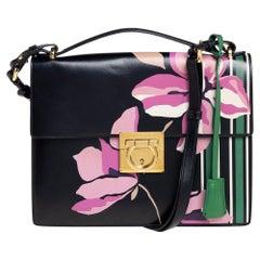 Salvatore Ferragamo Black Floral Print Leather Marisol Shoulder Bag