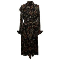 Salvatore Ferragamo Black Floral Silk Midi Dress with Belt Size 42 IT