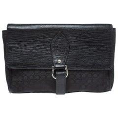 Salvatore Ferragamo Black Gancio Print Fabric and Leather Flap Wristlet Clutch