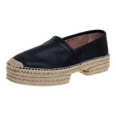 Salvatore Ferragamo Black Leather And Jute Espadrilles Size 44