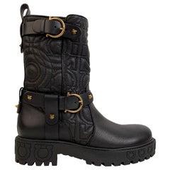 Salvatore Ferragamo Black Leather Biker Bormio Boots Size 7C 37.5C