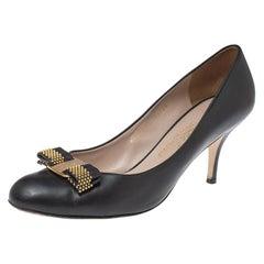 Salvatore Ferragamo Black Leather Bow Embellished Pumps Size 40