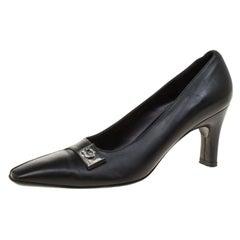 Salvatore Ferragamo Black Leather Buckle Detail Pumps Size 35.5