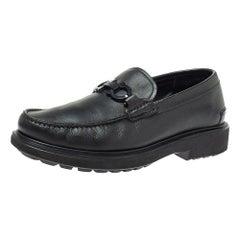 Salvatore Ferragamo Black Leather Double Gancio Loafers Size 40