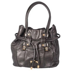 Salvatore Ferragamo Black Leather Drawstring Hobo