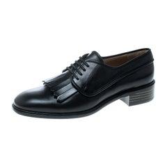 Salvatore Ferragamo Black Leather Faber Fringe Detail Derby Size 39.5